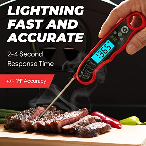 Alpha Grillers Instant Read Meat Thermometer for Grill and Cooking Best Waterproof Ultra Fast Thermometer with Backlight Calibration Digital Food Probe for Kitchen Outdoor Grilling and BBQ 0 2