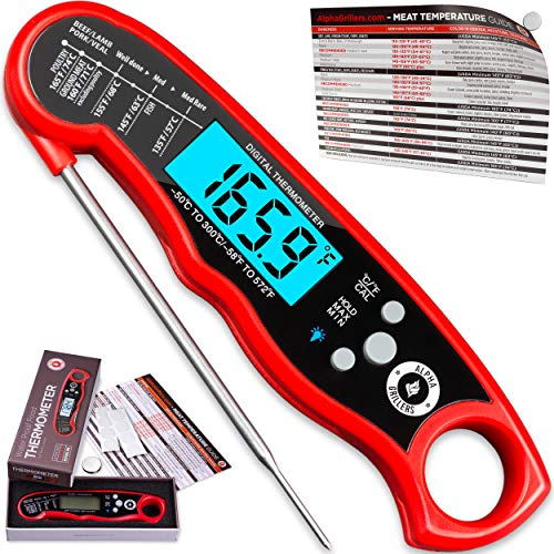 Alpha Grillers Instant Read Meat Thermometer for Grill and Cooking Best Waterproof Ultra Fast Thermometer with Backlight Calibration Digital Food Probe for Kitchen Outdoor Grilling and BBQ 0