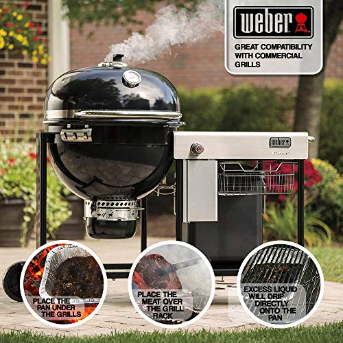Aluminum Foil Grill Drip Pans Bulk Pack of Durable Grill Trays Disposable BBQ Grease Pans Compatible with Weber Grills Made in The USA Also Great for Baking Roasting Cooking Pack of 25 0 1