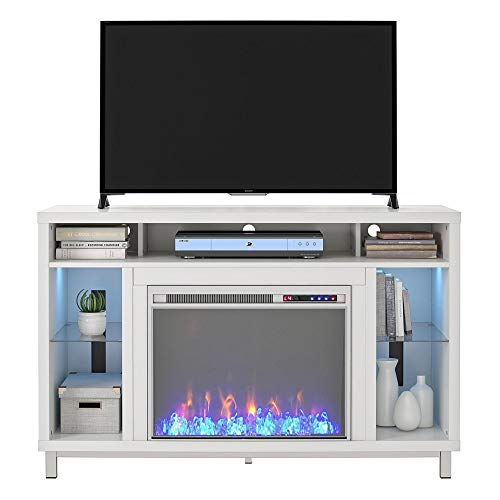 Ameriwood Home Lumina 48 White Fireplace TV Stand 0 1