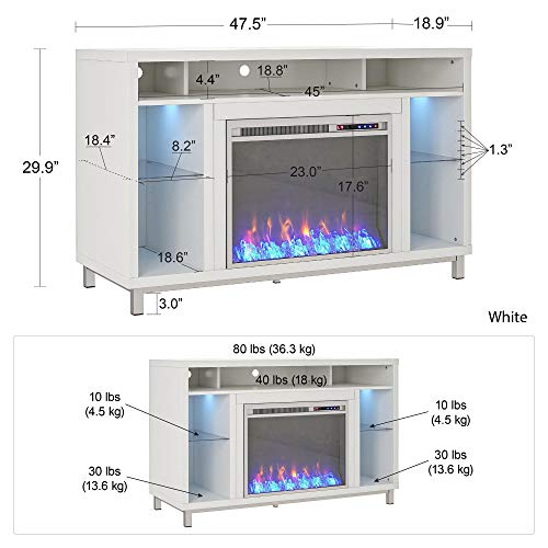 Ameriwood Home Lumina 48 White Fireplace TV Stand 0 5