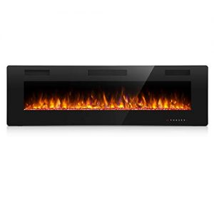 Antarctic Star Electric Fireplace in Wall Recessed and Wall Mounted 7501500 Fireplace Heater and Linear Fireplace with Multicolor Flame Control by Touch Panel Remote Black 30 0