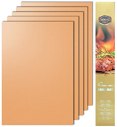 Aoocan Copper Grill Mat Set of 5 Heavy Duty BBQ Grill Mats Non Stick BBQ Grill Baking Mats Reusable Easy to Clean Barbecue Grilling Accessories Extended Warranty 0