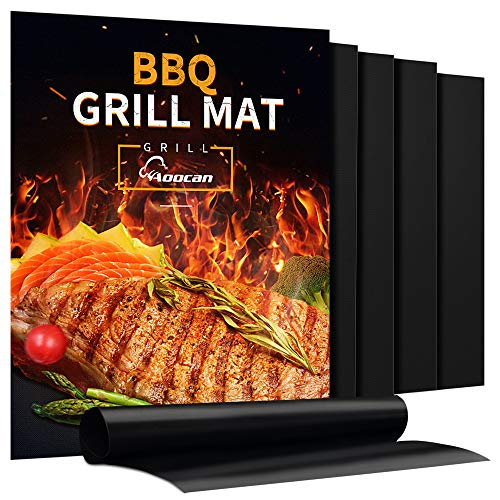 Aoocan Grill Mat Set of 5 Heavy Duty BBQ Grill Mats Non Stick BBQ Grill Baking Mats Reusable Easy to Clean Barbecue Grilling Accessories Work on Gas Charcoal Electric Extended Warranty 0