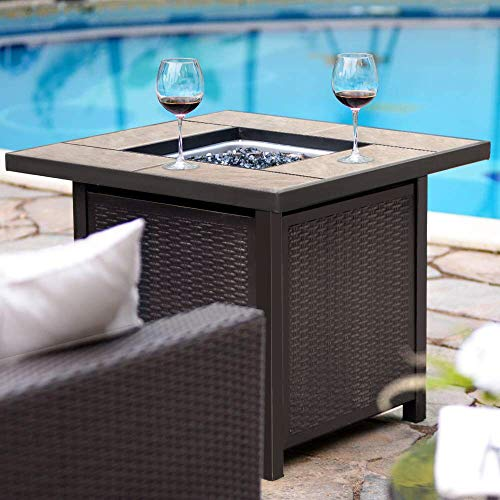 BALI OUTDOORS Propane Gas Fire Pit Table 32 inch 50000 BTU Square Gas Firepits with Cover for Outside Brown 0 0