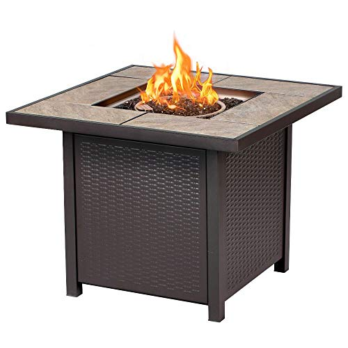 BALI OUTDOORS Propane Gas Fire Pit Table 32 inch 50000 BTU Square Gas Firepits with Cover for Outside Brown 0 1