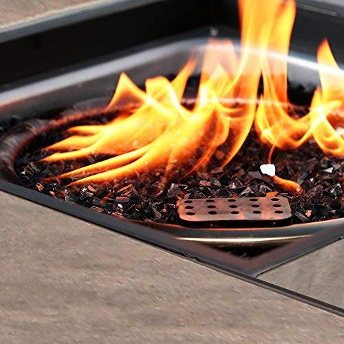 BALI OUTDOORS Propane Gas Fire Pit Table 32 inch 50000 BTU Square Gas Firepits with Cover for Outside Brown 0 2