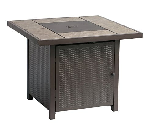 BALI OUTDOORS Propane Gas Fire Pit Table 32 inch 50000 BTU Square Gas Firepits with Cover for Outside Brown 0 4