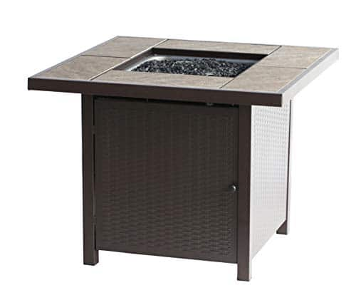 BALI OUTDOORS Propane Gas Fire Pit Table 32 inch 50000 BTU Square Gas Firepits with Cover for Outside Brown 0