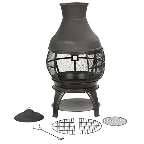 BALI OUTDOORS Wood Burning Chimenea Outdoor Round Wooden Fire Pit Fireplace Black 0 1