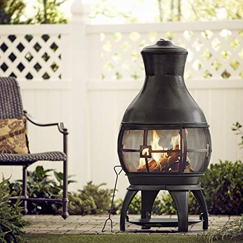 BALI OUTDOORS Wood Burning Chimenea Outdoor Round Wooden Fire Pit Fireplace Black 0 2