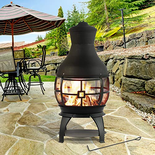 BALI OUTDOORS Wood Burning Chimenea Outdoor Round Wooden Fire Pit Fireplace Black 0 3