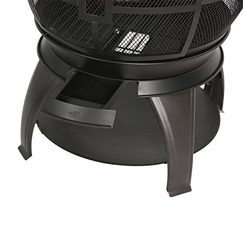 BALI OUTDOORS Wood Burning Chimenea Outdoor Round Wooden Fire Pit Fireplace Black 0 4