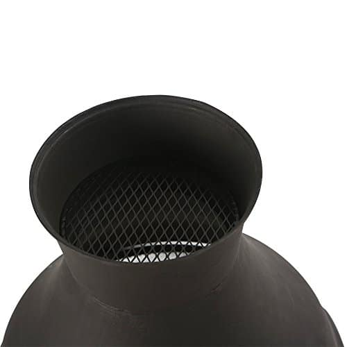 BALI OUTDOORS Wood Burning Chimenea Outdoor Round Wooden Fire Pit Fireplace Black 0 5