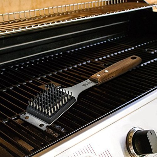 BBQ Aid Barbecue Grill Brush and Scraper Extended Large Wooden Handle and Stainless Steel Bristles No Scratch Cleaning for Any Grill Char Broil Ceramic Proprietary Replaceable Head 0 2