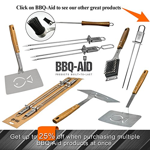 BBQ Aid Barbecue Grill Brush and Scraper Extended Large Wooden Handle and Stainless Steel Bristles No Scratch Cleaning for Any Grill Char Broil Ceramic Proprietary Replaceable Head 0 4