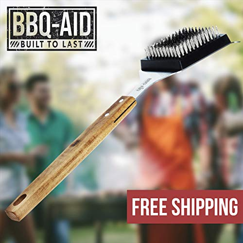 BBQ Aid Barbecue Grill Brush and Scraper Extended Large Wooden Handle and Stainless Steel Bristles No Scratch Cleaning for Any Grill Char Broil Ceramic Proprietary Replaceable Head 0 5
