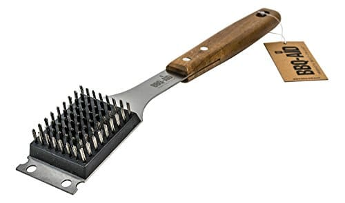 BBQ Aid Barbecue Grill Brush and Scraper Extended Large Wooden Handle and Stainless Steel Bristles No Scratch Cleaning for Any Grill Char Broil Ceramic Proprietary Replaceable Head 0
