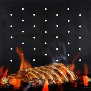 BBQ Grill Mat Non Stick 2020 Upgraded Model With Holes Set of 2 Heavy Duty Reusable and Dishwasher Safe Black Mesh Fireproof Topper Pads Easy Clean and Easy Use on Gas Charcoal Electric Grills 0