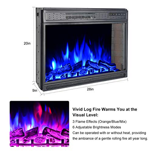 BEAMNOVA 28 Inch Electric Fireplace Insert Black Wall Mounted Freestanding Corner Heater with Remote Control 0 1