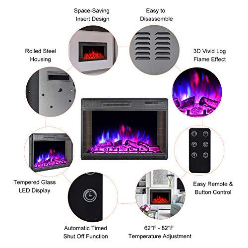 BEAMNOVA 28 Inch Electric Fireplace Insert Black Wall Mounted Freestanding Corner Heater with Remote Control 0 2