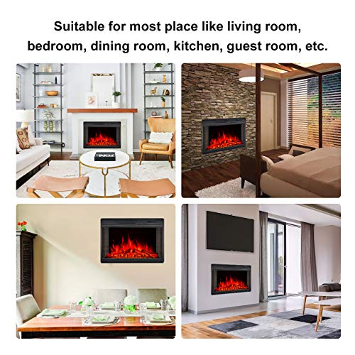 BEAMNOVA 28 Inch Electric Fireplace Insert Black Wall Mounted Freestanding Corner Heater with Remote Control 0 3