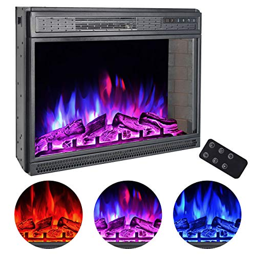 BEAMNOVA 28 Inch Electric Fireplace Insert Black Wall Mounted Freestanding Corner Heater with Remote Control 0