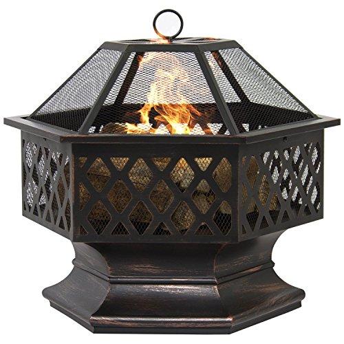 BELLEZE Hex Shaped Firepit Outdoor Home Garden Backyard Fireplace Fire Pit wLid 0 0