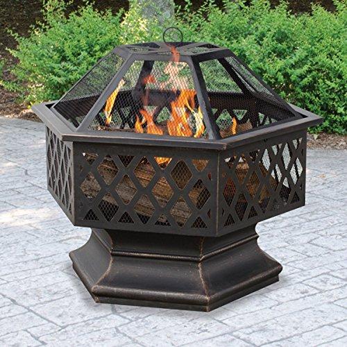BELLEZE Hex Shaped Firepit Outdoor Home Garden Backyard Fireplace Fire Pit wLid 0