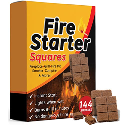 Bangerz Sunz Fire Starter Squares 144 Fire Starters for Fireplace Wood Stove Grill Camp Fire Pit Charcoal Starters 50B USA Made 0