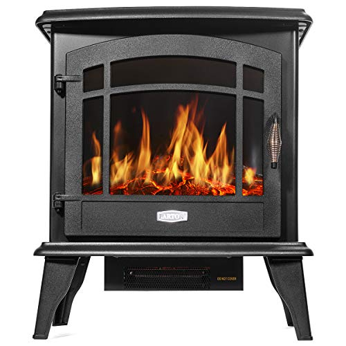 Barton 3 Sided 1500W Vintage Electric Standing Fireplace Stove Heater Infrared Quartz Freestanding 3D Dancing Flame Log Stove Firebox 0 0
