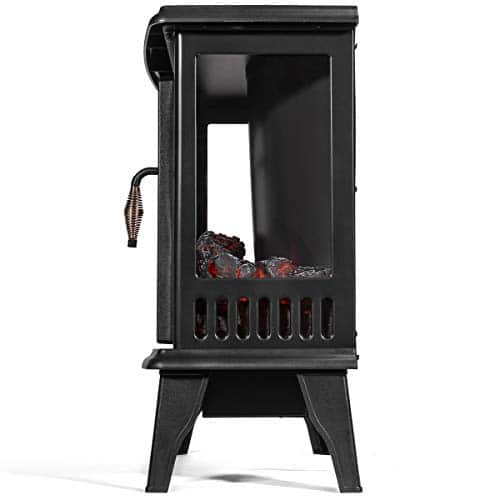 Barton 3 Sided 1500W Vintage Electric Standing Fireplace Stove Heater Infrared Quartz Freestanding 3D Dancing Flame Log Stove Firebox 0 1