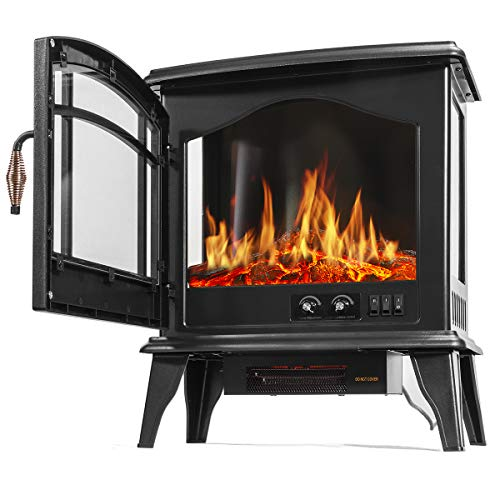 Barton 3 Sided 1500W Vintage Electric Standing Fireplace Stove Heater Infrared Quartz Freestanding 3D Dancing Flame Log Stove Firebox 0 2