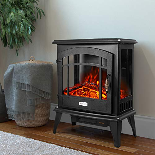 Barton 3 Sided 1500W Vintage Electric Standing Fireplace Stove Heater Infrared Quartz Freestanding 3D Dancing Flame Log Stove Firebox 0