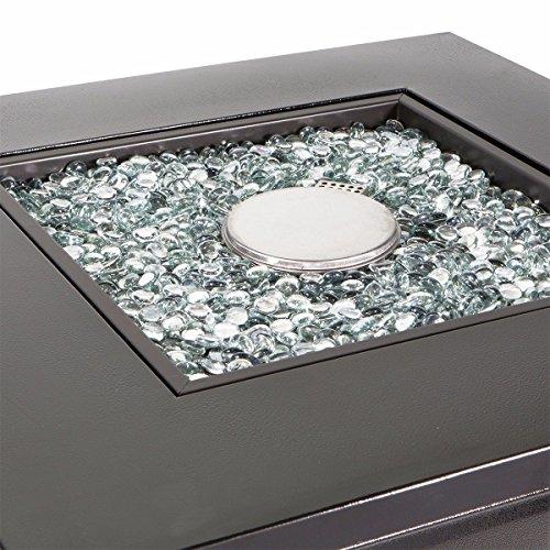 Barton Fire Pit Table Fire Glass Fireplace Outdoor Garden Ignition Control Patio Heater Firepit 46000BTU 0 2