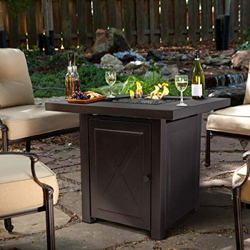 Barton Fire Pit Table Fire Glass Fireplace Outdoor Garden Ignition Control Patio Heater Firepit 46000BTU 0