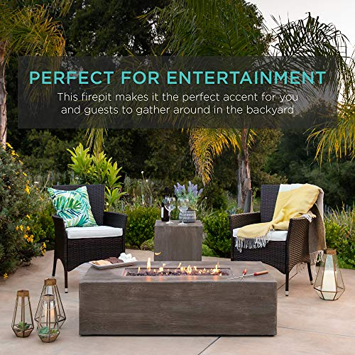 Best Choice Products 48x27in 50000 BTU Patio Propane Fire Pit Table Side Table Tank Storage wWood Finish Pit Cover 0 1