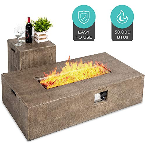 Best Choice Products 48x27in 50000 BTU Patio Propane Fire Pit Table Side Table Tank Storage wWood Finish Pit Cover 0