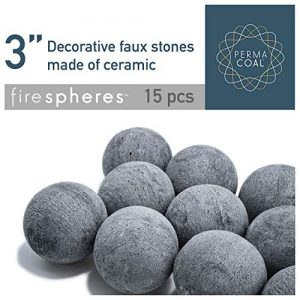 Bond Manufacturing Ceramic Fire Balls Set of 15 Fire Pit Fire Table Accessory for Indoor and Outdoor Fireplace 0
