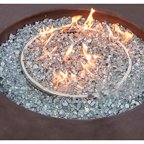COSIEST 2 Piece Outdoor Propane Firepit Table Set w Tank Table 42 inch Dark Fire Table 50000 BTU w Bronze Round Base16 inches Tank Cozy Side Table 20 Gallon for GardenPoolBackyard 0 2