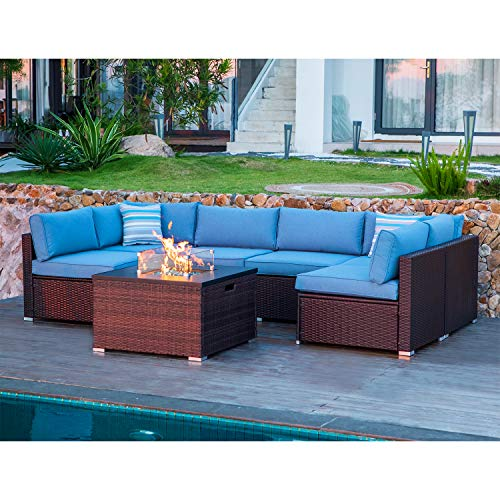 Patio Couch With Fire Pit Off 65, Dineli Patio Furniture Sectional Sofa With Gas Fire Pit Table Outdoor
