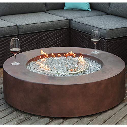 COSIEST Outdoor Propane Fire Pit Coffee Table w Dark Bronze 42 inch Round Base Patio Heater 50000 BTU Stainless Steel Burner Free Lava Rocks Waterproof Cover 0 1