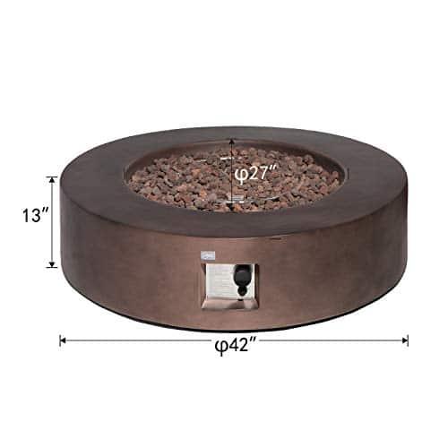 COSIEST Outdoor Propane Fire Pit Coffee Table w Dark Bronze 42 inch Round Base Patio Heater 50000 BTU Stainless Steel Burner Free Lava Rocks Waterproof Cover 0 2