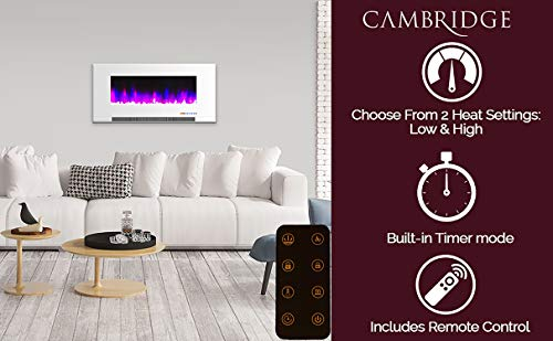 Cambridge CAM42WMEF 1WHT 42 In Wall Mount Electric Fireplace in White with Multi Color Flames and Crystal Rock Display 0 0