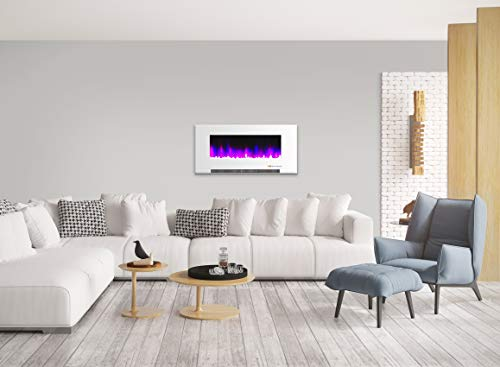 Cambridge CAM42WMEF 1WHT 42 In Wall Mount Electric Fireplace in White with Multi Color Flames and Crystal Rock Display 0