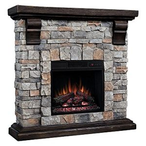 Classic Flame Pioneer Stone Electric Fireplace Mantel Package Brushed Dark Pine 18WM10400 I601 0