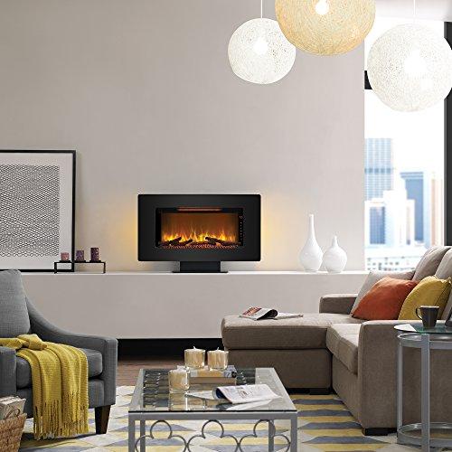 ClassicFlame 36II100GRG Elysium 36 Wall Mounted Infrared Quartz Fireplace Black Glass Frame 0 0