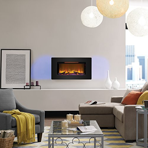 ClassicFlame 36II100GRG Elysium 36 Wall Mounted Infrared Quartz Fireplace Black Glass Frame 0 1