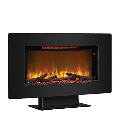 ClassicFlame 36II100GRG Elysium 36 Wall Mounted Infrared Quartz Fireplace Black Glass Frame 0