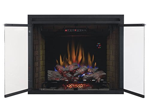 ClassicFlame 39EB500GRS 39 Traditional Built in Electric Fireplace Insert with Glass Door and Mesh Screen Dual Voltage Option 0